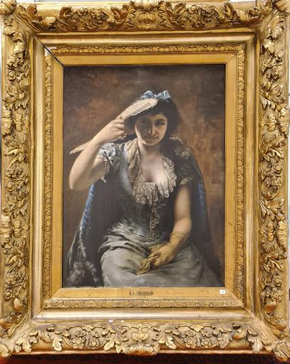 Agapit STEVENS - Pintura - Retrato de una elegante dama con un vestido azul y una estol
