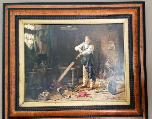 Gérard Jozef PORTIELJE - Gemälde - Taxidermist preparing