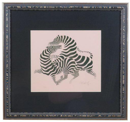 Victor VASARELY - Grabado - Zebra Couples,  Zèbre sur fond rose