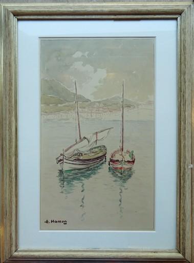Adrien HAMON - Dibujo Acuarela - Embarcations à Bagnuyls