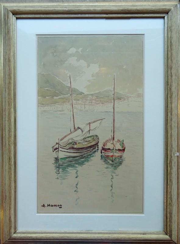 Adrien HAMON - Drawing-Watercolor - Embarcations à Bagnuyls