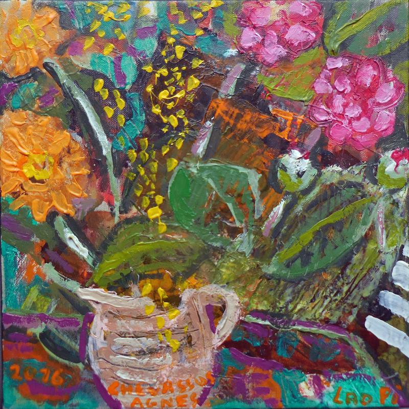 Jean-Pierre CHEVASSUS-AGNES - Peinture - marguerites et fleurs de camélias