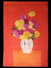 Bernard CATHELIN - Tapestry - Rose d'Inde et zinnia au vase hongrois sur fond rouge