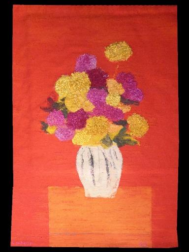 Bernard CATHELIN - Tapisserie - Rose d'Inde et zinnia au vase hongrois sur fond rouge