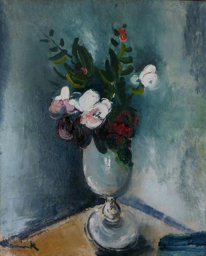 Maurice DE VLAMINCK - Pintura - Fleurs au vase à piédouche