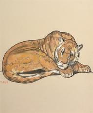 Paul JOUVE - Dibujo Acuarela - Panthère couchée