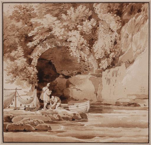 "Lancelot Théodore TURPIN DE CRISSÉ - Dibujo Acuarela - ""Fishermen by Grotto"", early 19th Century"