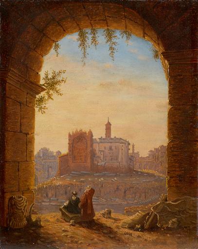 Wilhelm BRÜCKE - Painting - Rom, Blick aus einem Bogen des Colosseums zu den Ruinen des
