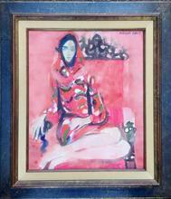 François BRET - Pintura - Demoiselle au fauteuil rouge