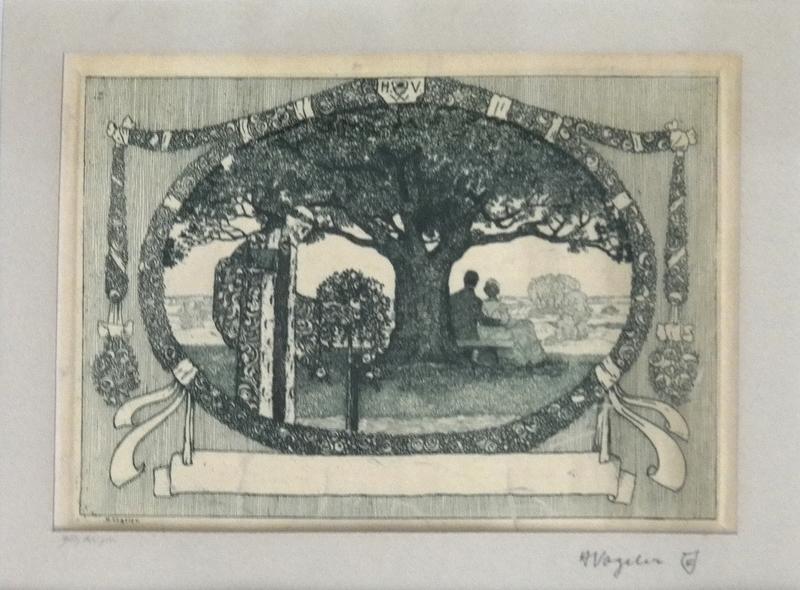 Heinrich VOGELER - Print-Multiple - Tod bricht Rosen ( Liebespaar und Tod )