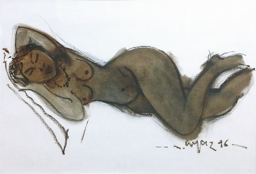 Mustafa AYAZ - Disegno Acquarello - Sleeping Nude