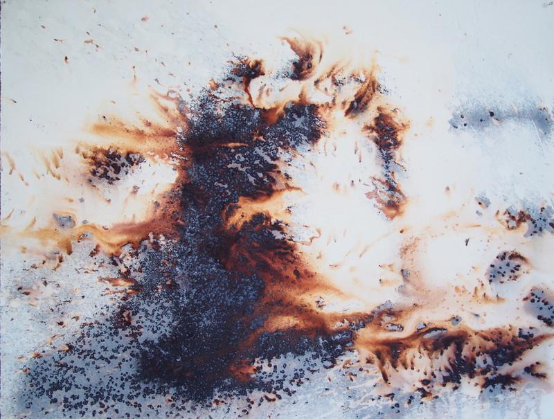 Philippe COGNÉE - Drawing-Watercolor - Château de sable en feu