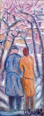 Valerio BETTA - Pintura - Coppia sotto la neve_Vey low price- Couple under snow
