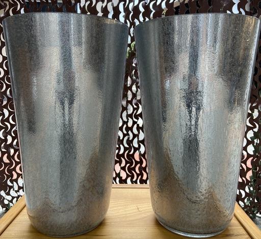 Sergio COSTANTINI - Paire de vases argentés Murano