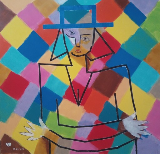 Harry BARTLETT FENNEY - Pittura - femme avec chapo bleu