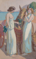 Maurice DENIS - Pintura - Jeux de Nausicaa : deux femmes près d'une mule harnachée
