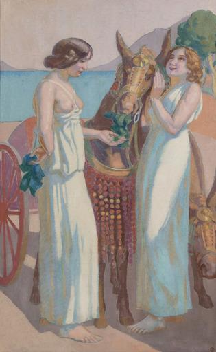 Maurice DENIS - Painting - Jeux de Nausicaa : deux femmes près d'une mule harnachée