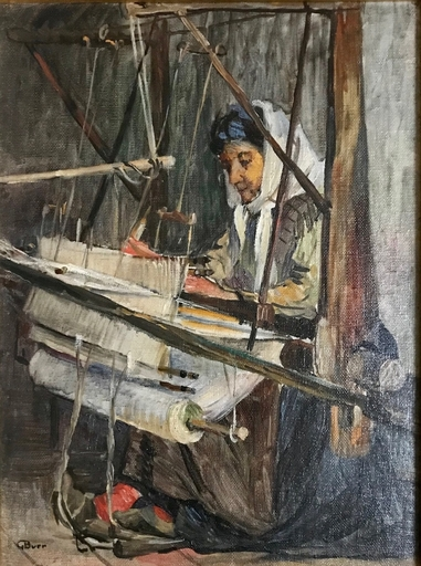 George Brainerd BURR - Painting - Woman Weaving