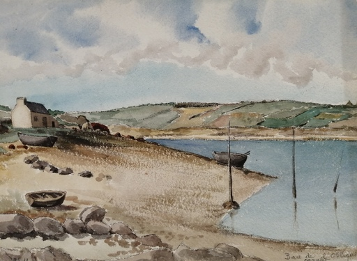 Alfred KELLER - Dibujo Acuarela - Maison dans le Finistère - (KP28)