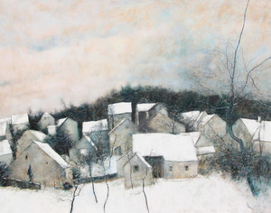 Bernard GANTNER - Pintura -  Village en hiver, 1977