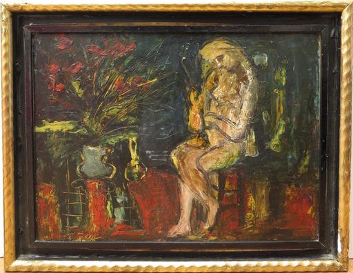 Paul ACKERMAN - Peinture - Jeune femme assise