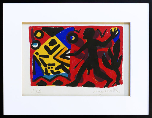 "A.R. PENCK - Estampe-Multiple - ""Zivilisation"" rot-gelb-blau"
