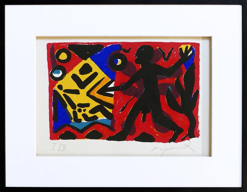 "A.R. PENCK - Estampe-Multiple - ""Zivilisation"" rot-gelb-blau"