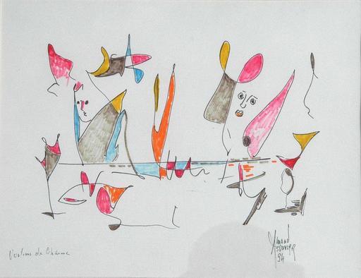 Armand BOUVIER - Dessin-Aquarelle - voilier,oiseau,poisson