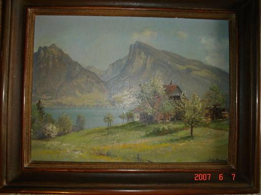 Fritz BRAND - Pintura - printemp au bord du lac