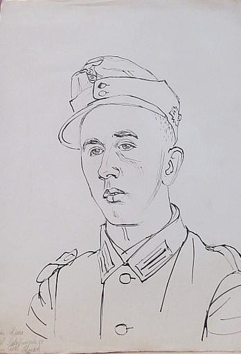Erich HARTMANN - Disegno Acquarello - #19817: Fridolin Rieder, Soldat.