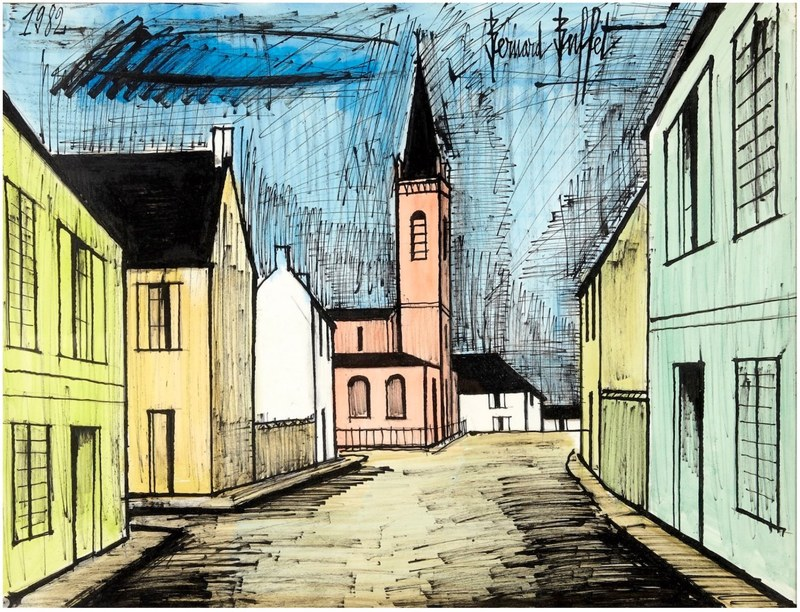 Bernard BUFFET - Disegno Acquarello - Abacourt