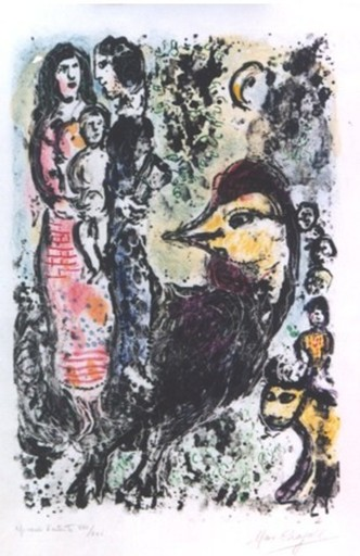 Marc CHAGALL - Estampe-Multiple - *Family With Cock M.567