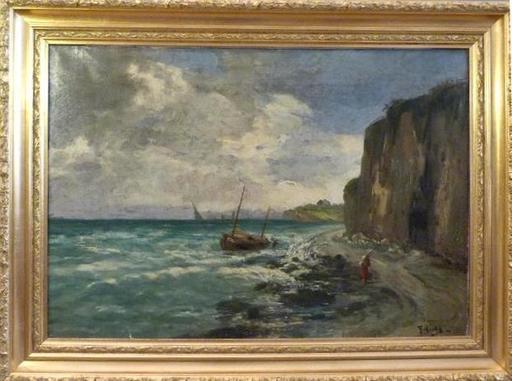 Alfred ROUBY - Painting - les falaises de Dieppe