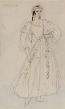 Nathalie GONTCHAROVA - Drawing-Watercolor - Costume Design for a Ballets Russes Play
