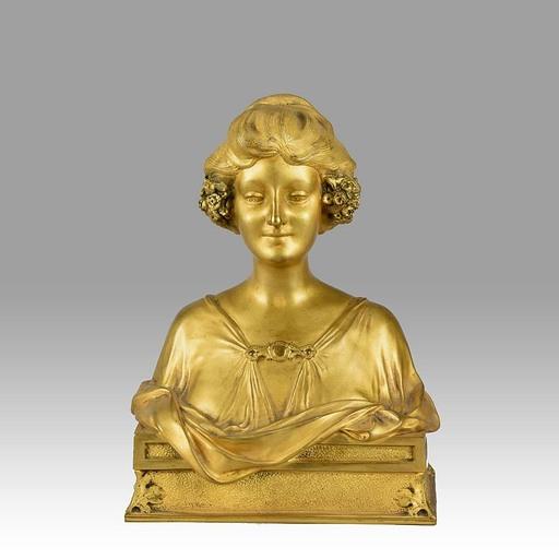Maurice BOUVAL - Escultura - Maurice Bouval Art Nouveau Gilt Bronze Bust