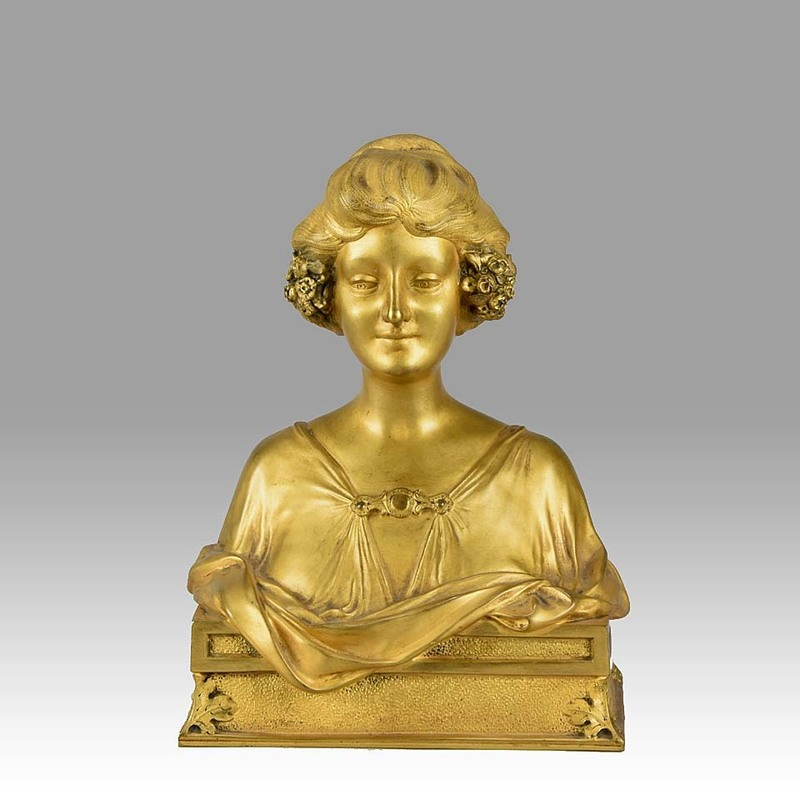 Maurice BOUVAL - Sculpture-Volume - Maurice Bouval Art Nouveau Gilt Bronze Bust