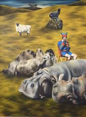Dermot SEYMOUR - Painting - A Hippopotamus Lay Down to Die Near the Town of Clontibret