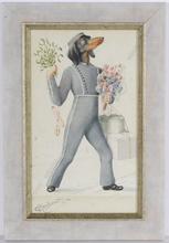 "Carl REICHERT - Dibujo Acuarela - ""Dog hotel bell-boy"", watercolor, 1907"