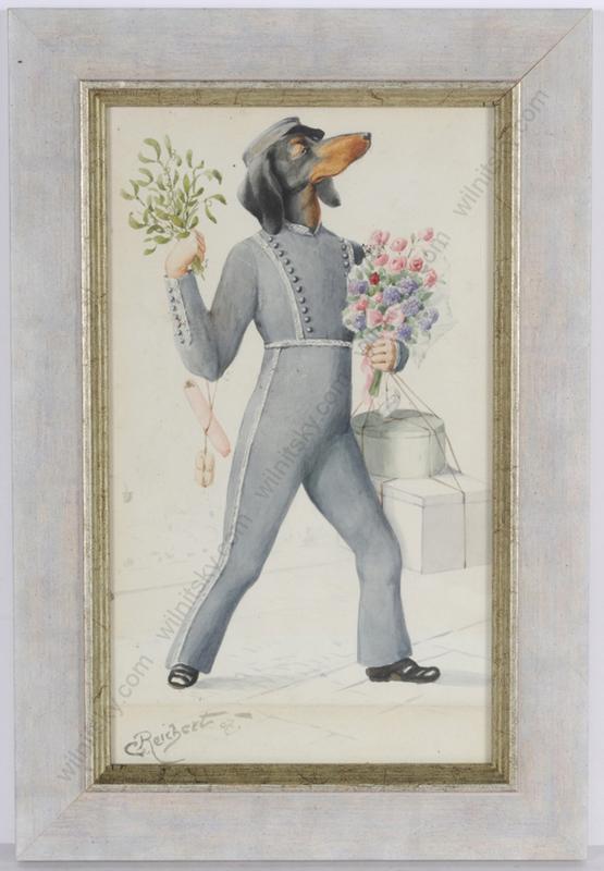 "Carl REICHERT - 水彩作品 - ""Dog hotel bell-boy"", watercolor, 1907"