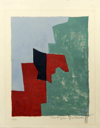 Serge POLIAKOFF - Print-Multiple - Composition rouge, verte et bleue n°32
