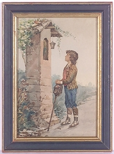 """Carlo FERRANTI - Dessin-Aquarelle - """"Young Prayer"""", Watercolor, late 19th Century"""