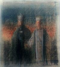 Pietro ANNIGONI - Disegno Acquarello - Bozzetto perl ritratto dello Scià di Persia