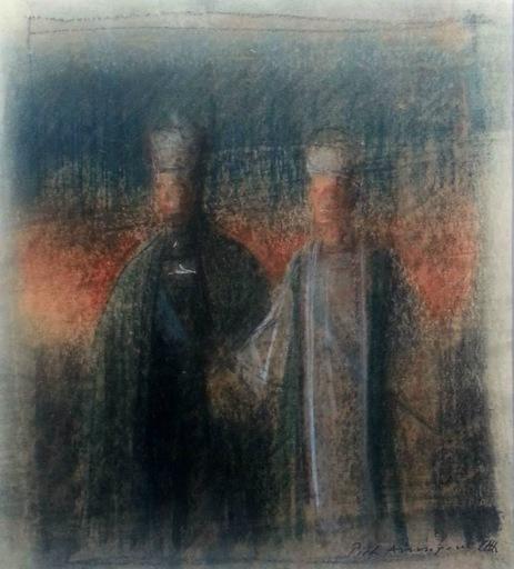 Pietro ANNIGONI - Disegno Acquarello - Studio per il ritratto dello Scià di Persia