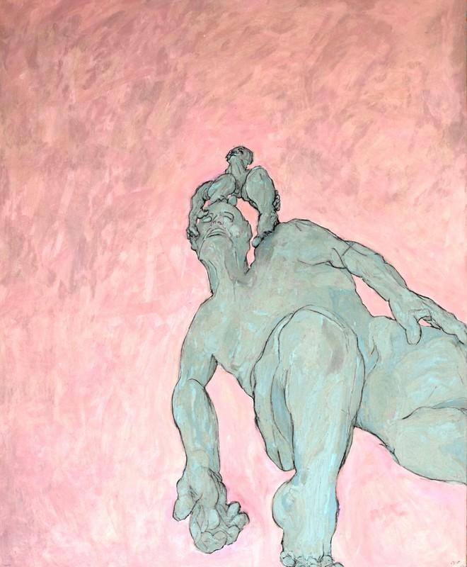 """H. SCHLAGEN - Painting - """" La genèse des pensées.""""  St. Christophorus, 2017."""