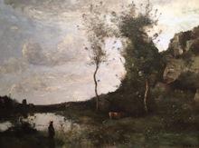 Camille Jean-Baptiste COROT - Painting - Vachère et sa vache à la mare en vue d'un village