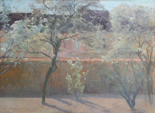Eugène CLARY - Pittura - Le coin du jardin du peintre