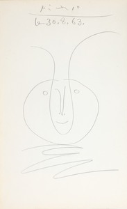Pablo PICASSO - Drawing-Watercolor - Tête de faune