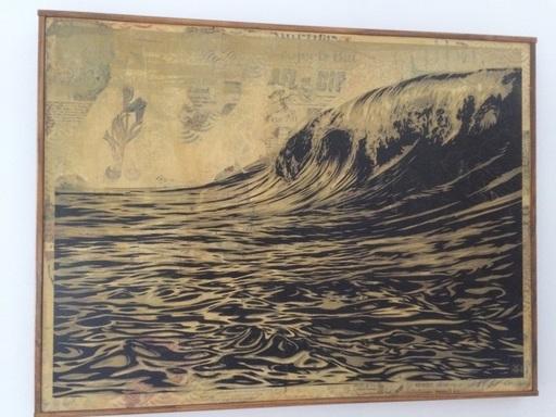 Shepard FAIREY - Painting - Dark Wave  HPM on wood AP (edition of 2)