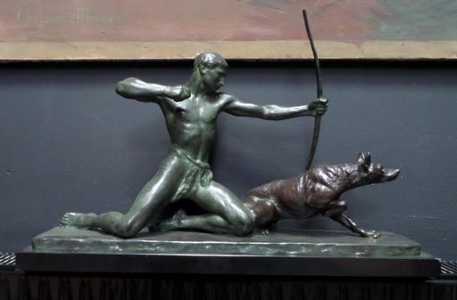 Louis RICHÉ - Escultura - Le chasseur et son chien