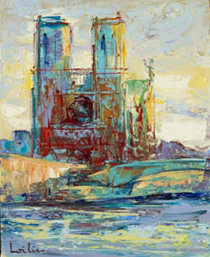 Hervé LOILIER - Pittura - Notre Dame depuis les berges